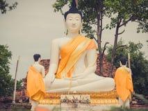 Große weiße Buddha-Statue im Freien bei Wat Samanakotaram in Ayutthay lizenzfreies stockfoto
