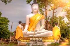 Große weiße Buddha-Statue im Freien bei Wat Samanakotaram in Ayutthay lizenzfreies stockbild