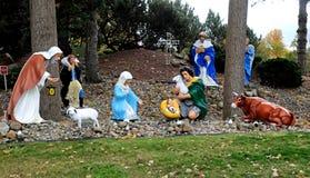 Große Weihnachts- oder Feiertagsanzeige im Freien der Geburt Christi stockfoto