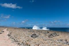 Große Wellen, die am Ufer zerquetschen stockbilder