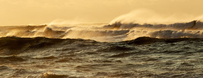 Große Wellen, welche die Küstenlinie von Long Island slaming sind stockfoto