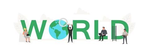 Große Wort Welt mit kleinem Arbeiter um sie Kreative Geschäftsfahne des Vektors für Konzept des Entwurfes Illustration für stock abbildung