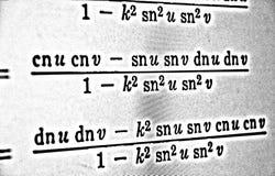 Große Zahl von mathematischen Formeln auf weißem Hintergrund HDR Lizenzfreie Stockfotografie