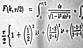 Große Zahl von mathematischen Formeln auf weißem Hintergrund HDR Stockfoto