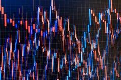 Große Zahlen Balkendiagramme, Diagramme, Finanzzahlen Handel auf Marktkonzept Weitwinkelobjektiv bedeckt durch Linsen-Kappe in de Stockfotos