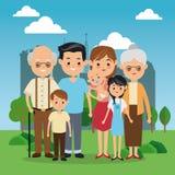 Großeltern-, Eltern- und Kinderikone Familiendesign Stadt Landsca lizenzfreie abbildung