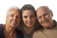 Großeltern mit Enkelin Stockbilder