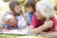 Großeltern und Enkelkinder im Park zusammen Stockbild