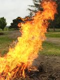 Großen Stapel von Niederlassungen mit einem Feuer aufräumen Lizenzfreie Stockbilder