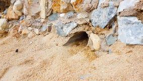 Großer Abfluss begraben unter der verzierten Steinwand Stockbild
