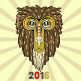 Großer Affe: Zeichen von 2016 auf nicht traditionelle Art Lizenzfreie Stockfotografie