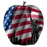 Großer Apple mit USA-Markierungsfahne und New- YorkSkylinen Stockfoto