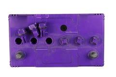 Großer Batterie-LKW, Autobatterie, Oberseite der Batterie, lokalisiert auf schwarzem Hintergrund lizenzfreies stockfoto
