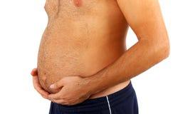 Großer Bauch eines fetten Mannes Lizenzfreie Stockfotos