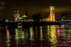 Großer Ben Tower Houses Parliament Thames-Fluss Westminster England Stockfotos