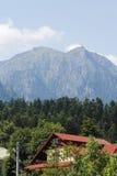 Großer Berg mit Wald und Haus unten Stockfotos