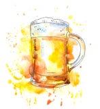 Großer Bierkrug Aquarellvorlagenart Stock Abbildung