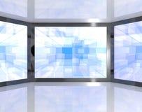 Großer Blau Fernsehapparat überwacht an der Wand befestigtes Stockbild