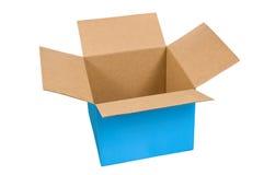 Großer blauer geöffneter Kasten Stockbild
