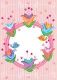 Großer Blumen-Vogel-Kreis Frame_eps Stockbild