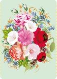 Großer Blumenblumenstrauß auf Blau Lizenzfreies Stockbild