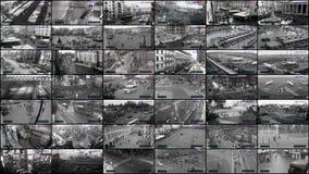 Großer CCTV-geteilter Bildschirm, Überwachungskameraüberwachung stock video