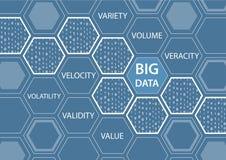 Großer Datenhintergrund mit Hexagonformen und der Wortvielzahl, Volumen Stockfotos