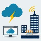 Großer Datenikonensatz, Datenverarbeitungskonzept der Wolke Stockbild