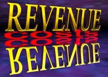 Großer Einkommens-geringe Kosten-Text mit Reflexions-Nacht Lizenzfreies Stockbild