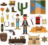 Großer entworfener Satz wilder Westen Lizenzfreie Stockbilder