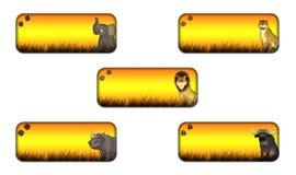 Großer fünf Safari-Fahnen-Satz Lizenzfreie Stockfotografie