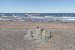 Großer Felsen im Kies an der Küste Stockbild