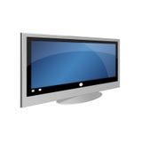 Großer Fernsehapparat auf weißem Hintergrund Lizenzfreie Stockfotos
