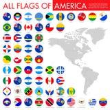Großer flacher Knopfflaggensatz - Amerika-Norden, zentral u. Süd lizenzfreie abbildung