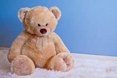 Großer flaumiger Teddybär vor blauer Wand Lizenzfreie Stockfotos
