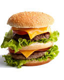 Großer frischer selbst gemachter doppelter Hamburger stockbild
