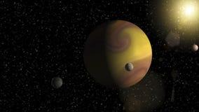 Großer Gasrieseplanet mit zwei Monden und einem umkreisenden nahe gelegenen Stern des kleineren Planeten Stockfoto