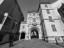 Großer Gatehouse Abbey Gatehouse in Bristol in Schwarzweiss Lizenzfreies Stockfoto