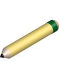 großer gelber Bleistift 3d lokalisiert auf weißem Hintergrund Lizenzfreie Stockbilder