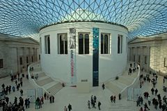 Großer Gerichtsüberblick des britischen Museums Stockbild