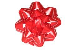 Großer Geschenkbogen, glänzendes Rot, getrennt auf Weiß Stockbild