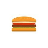 Großer geschmackvoller Cheeseburger auf einem weißen Hintergrund durchgeführt in der flachen Art Lizenzfreie Stockfotografie
