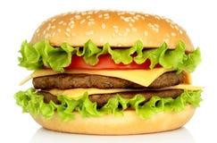 Großer Hamburger auf weißem Hintergrund stockfoto