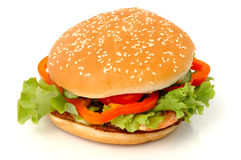 Großer Hamburger getrennt Lizenzfreie Stockfotografie