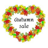 Großer Herbstverkaufs-Geschäftssaisonalhintergrund mit farbigen Blättern editable Vektor Lizenzfreie Abbildung