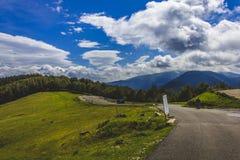 Großer Himmel mit Bergen, Wald und einer Straße Lizenzfreies Stockfoto
