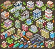 Großer isometrischer Satz Gebäude und Häuser Stockfotografie