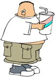 Großer Junge mit einem großen Getränk Lizenzfreie Stockbilder