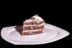 Großer Keil des Kuchens mit Schlagsahne Stockbilder
