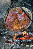 Großer Kessel mit Gulasch bograch auf dem Feuer stockbild